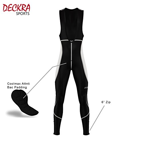 Deckra Mens ciclismo Salopette pantaloni termici invernali Bike Collant (Nero / Bianco, medio)