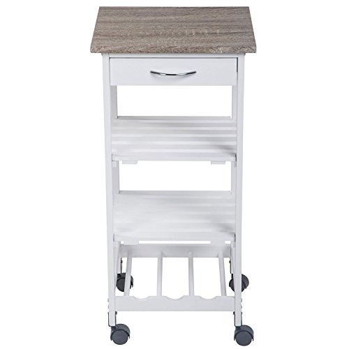 Kitchen trolley/Microwave Stand, White Base with Natural Top (Kitchen Island Microwave compare prices)