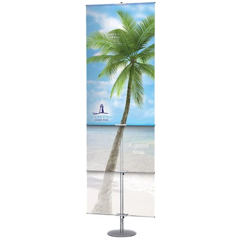 "Adjustable Classic Banner Stand - Satin Silver: 24""-42"" Telescopic Height - Round Base"