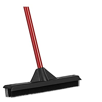 Rubber Broom by Ravmag- Built-in Squeegee Edge- Soft Scratch free Bristles- Perfect for Pet Hair- Great for cleaning hardwood vinyl carpet cement tile & windows- Water Resistant