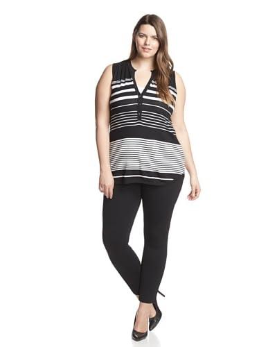 Cullen Plus Women's Striped Henley Tunic