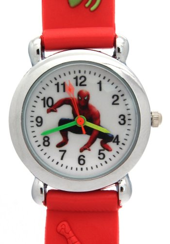 TimerMall Spider Man Pattern Water Resistant Red Band Sport Style Children's Watches