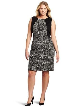 Calvin Klein Women's Plus-Size Sleeveless Seamed Dress, Black/Winter White, 14W