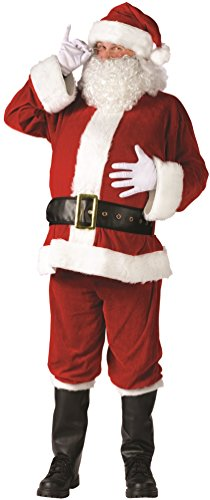 Fun World Men's Plus Santa Suit Complete Velour Christmas Costume