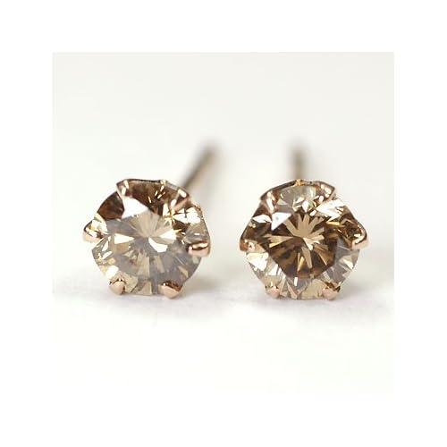 [キュートジュエリー]Cute jewerly ダイヤモンドピアス K18PG ブラウンダイヤ0.4ct スタッドピアス