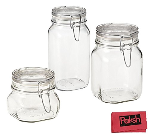 Paksh Novelty Bormioli Fido 3-Piece Airtight Glass Canister/Jar Set with Lid Bundle with Cloth (Airtight Glass Storage Containers compare prices)