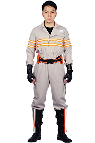 [Mens Ghostbusters Costume Outfit Jumpsuit for Adult Halloween Cosplay Large] (Ghostbusters Womens Costume)