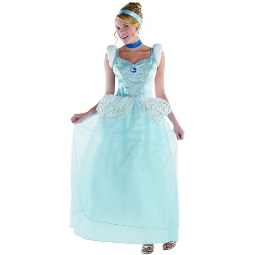 Disguise Disney Cinderella Adult Deluxe Costume, Light Blue/White, Medium/8-10