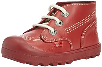 Kickers Unisex-Child Plunk Leather Boots, Red, 5 UK Child