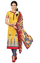 Khoobee Presents Embroidered Chanderi Dress Material (Yellow,Grey)