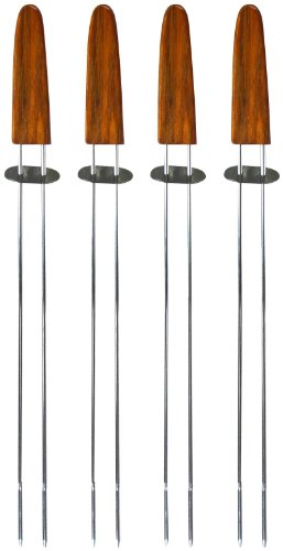 Mr. Bar B Q Oval Wood Handle Double Pronged Skewers