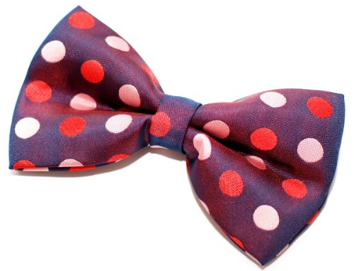 """Retreez Two-Colour Polka Dots Woven Microfiber Pre-Tied Bow Tie (Width: 5"""") - Dark Purple With Pink And Red Polka Dots"""