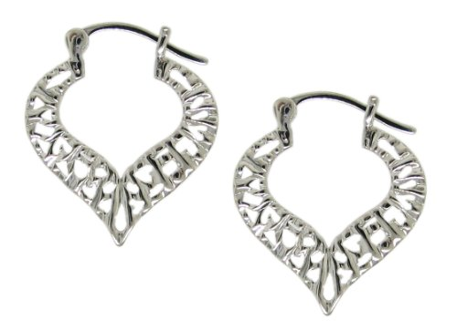 Sterling Silver 925 High Shine Finish Unusual Abstract Heart Filigree With Textured Finish Spade Shaped 3/4