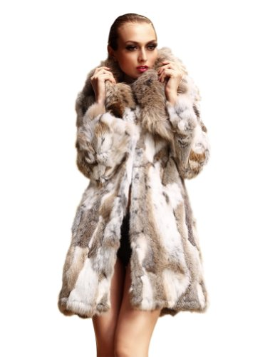 Kattee Womens Real Rabbit Fur Coat with Big Raccoon Trim Collar (X-Large)
