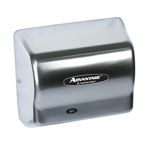 """American Dryer Ad90-Ss Advantage Stainless Steel Standard Automatic Hand Dryer, #4 Brush Finish, 1/8 Hp Motor, 100-240V, 5-5/8"""" Length X 10-1/8"""" Width X 9-3/8"""" Height"""