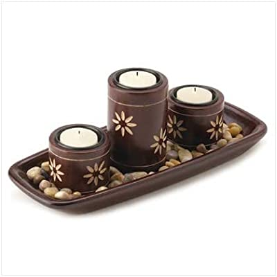Best Cheap Deal for Zen Candle Holder Tray Tealight Pillars Natural Stones by Furniture Creations - Free 2 Day Shipping Available