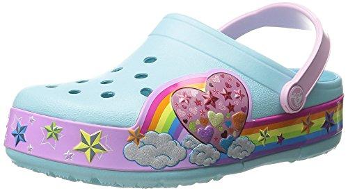 Crocs Kids' CrocsLights Rainbow Heart Light-Up Clog (Infant/Toddler/Little Kid/Big Kid), Ice Blue, 7 M US Big Kid