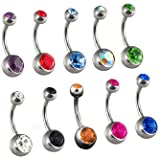 """Set of 10 Double Jeweled Mixed Color Crystal Belly Button Navel Rings Stainless Steel 14g 3/8"""""""