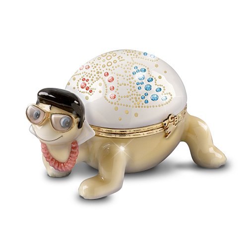 Elvis Presley Heirloom Porcelain Turtle Music Box: Shelloha From Hawaii by The Bradford Exchange