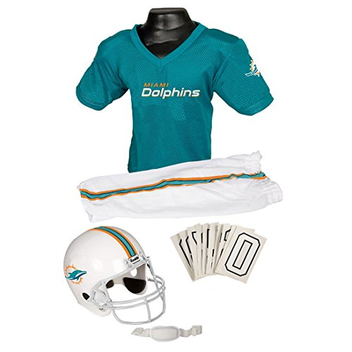 Miami Dolphins Youth NFL Deluxe Helmet and Uniform Set-By BlueTECH (Nfl Dolphins Uniform Costume)