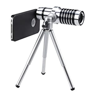 AGPtek® 14X Telephoto Manual Focus Telescope Phone Camera Lens (silver) for Apple iPhone 4 4G 4S 5 5G Samsung galaxy S III / S3 i9300 (Including Circular Holder, Mini Telescoping Tripod, Cleaning Cloth, Black Bag, Case, Lens cover)