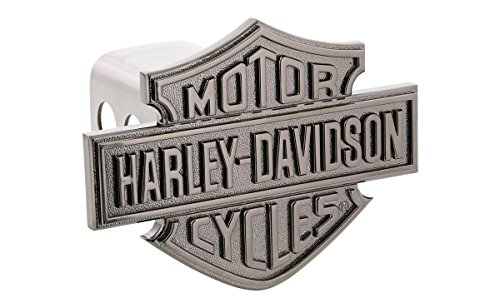 Harley-Davidson Trailer Hitch Cover Plug With 3D Reflective Black Nickel Plated Raised Monotone Bar & Shield (Metal Trailer Hitch Plug compare prices)