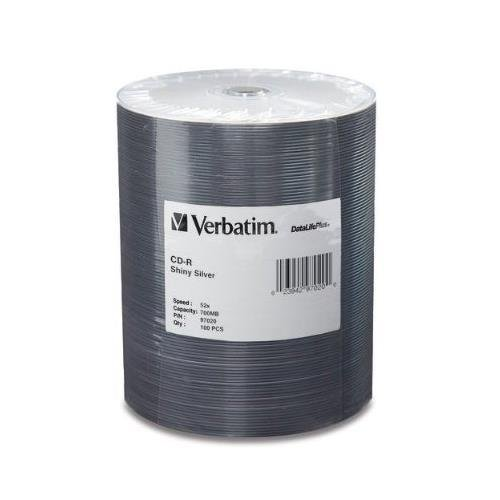VERBATIM 97020 CD-R 52X 80 min Shiny Silver Datalife + 100-pk Tape Wrap cd r verbatim 700mb 52x extra protection 10шт shrink