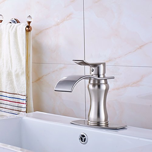 Great Deal! Senlesen Brushed Nickel Waterfall Bathroom Faucet Single Handle Basin Sink Mixer Tap