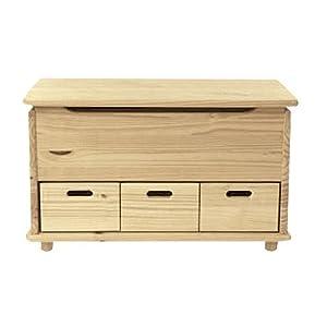Baule cassapanca 3 cassetti in legno naturale verniciabile for Baule cassapanca legno