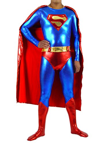 Superman Costume Adult Superhero Cosplay Halloween Shiny Cape