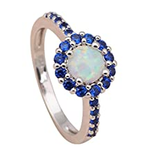 buy Neroy Round Blue Topaz & White Fire Created Opal Ring 925 Sterling Silver Crystal Engagement Rings Fashion Jewelry Usa Size 6 7 8 9 10 Or712A
