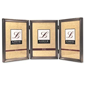 Lawrence Frames Antique Pewter 5x7 Hinged Triple Picture Frame - Bead Border Design
