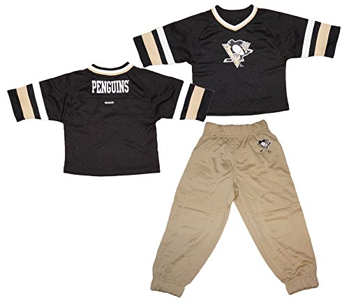 Reebok Pittsburgh Penguins Toddlers 3/4 Sleeve Hockey Jersey and Pants Set - Black/Khaki - 3T (Reebok Hockey Pants compare prices)