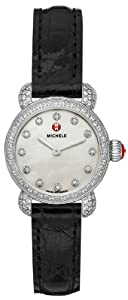 Michele Watches, Women's Csx26 Pav Diamond, Diamond Dial Black Alligator