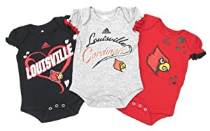 Buy adidas Louisville Cardinals Baby Girl's Heart 3-Pack Creeper Set by adidas
