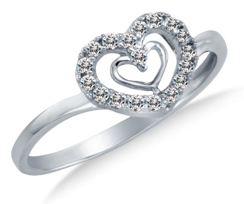 Size 6.5 - Solid 14K White Gold Heart Shape Highest Quality CZ Cubic Zirconia Love Promise Fashion Ring Band - Available in all ring sizes 4 - 13