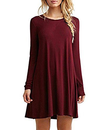 Lashapear Women's Loose Plain Long Sleeve Simple T-shirt Casual Dress, Burgundy, Small