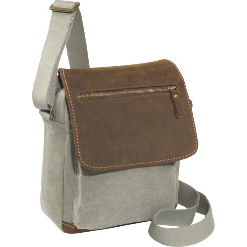 Earth Axxessories Khaki Canvas with Leather Flap Over Messenger Bag (Khaki)