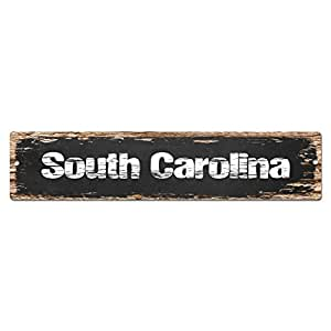 South carolina sign vintage rustic street sign for Bar decor amazon