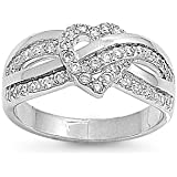 Iced Infinity Heart Knot Cubic Zirconia Ring 10MM Sterling Silver 925