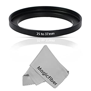 Goja 25-37MM Step-Up Adapter Ring (25MM Lens to 37MM Accessory) + Premium MagicFiber Microfiber Cleaning Cloth