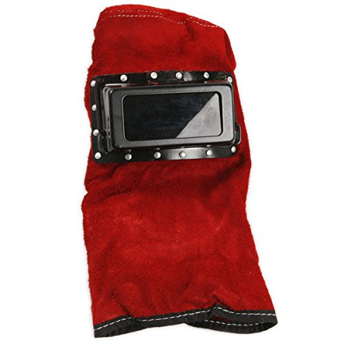 Red Leather Face Neck Protected Lens Glasses Welding Hood Helmet Mask (Welding Helmet Accesories compare prices)