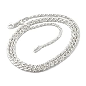 2mm sterling silver 20 inch diamond-cut rope chain necklace