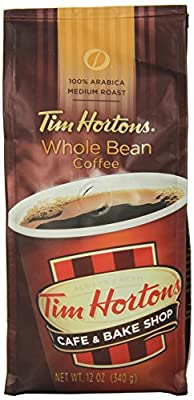 Tim Hortons Whole Bean Coffee Premium Blend 12 Ounce (Pack of 6)