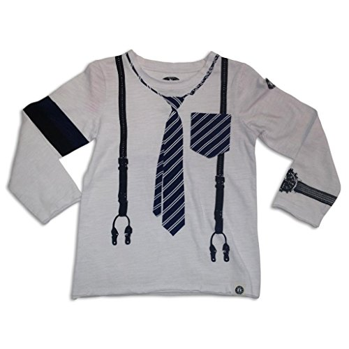Mini Shatsu Tie And Suspender Long Sleeve Tee-18M-White front-805134