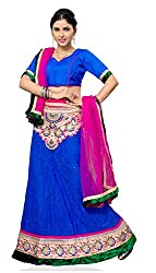 Jiya Presents Embroidered Net Lehenga Choli(Blue,Blue)