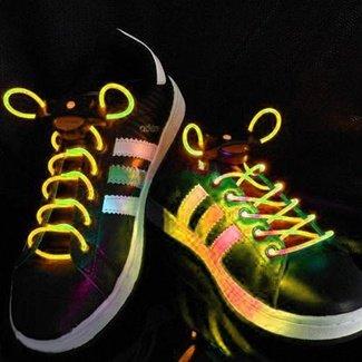 Yellow Led Light Up Flashing Shoelaces + Extra Batteries