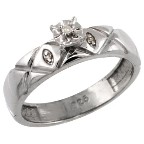 Sterling Silver Diamond Engagement Ring w/ 0.03 Carat Brilliant Cut Diamonds, 5/32 in. (4.5mm) wide, size 9