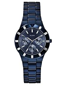 GUESS Women's Glisten Blue-Tone Stainless Steel Bracelet Watch W0027L3