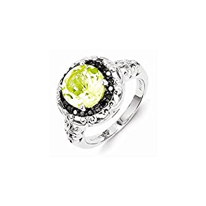 Sterling Silver Lemon Quartz and Black Diamond Ring